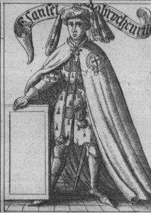 Sir Sanchet d'Abrichecort in a surcoat of his arms and Garter robes. From Ashmole's Institutions of the Garter, illustrated in CoA 9(2), p. 81.