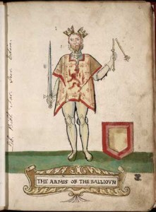 King John, his crown and sceptre symbolically broken as depicted in the 1562 Forman Armorial, produced for Mary, Queen of Scots (source: wikimedia commons)