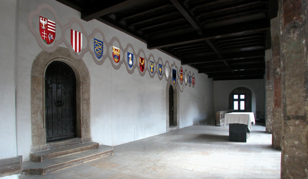 "Graphic reconstruction of the heraldic wall of the Castle of Huneodara. These arms once have decorated the upper floor of the ""Matthias Loggia"""