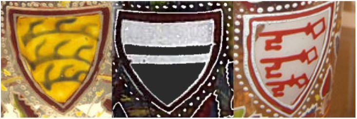 Detailansicht der drei Wappen auf dem Aldrevandin Beaker