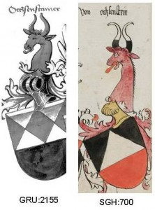 The different blasons of Ochenstein in Grünenberg and the amrorial of St. Gallen