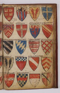 A folio of the Armorial Le Breton with three foliations