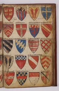 A folio of the Armorial Le Breton with three foliations