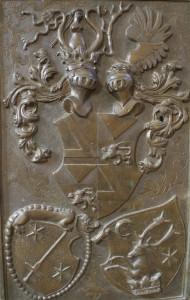 Ausschnitt von der Grabplatte des Hermannstädter Bürgermeisters Peter  Haller (gest. 1569) in der Ferula der Ev. Stadtpfarrkirche in Hermannstadt.