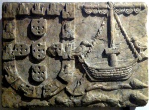 Arms of Lisbon (1360), Arroios Fountain. Presently in the Lisbon City Museum, nº inv. MC.ESC.415.