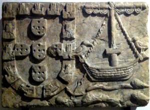Arms of Lisbon (1360), Arroios Fountain. Presently in the Lisbon City Museum, nº inv. MC.ESC.415.