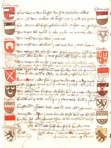 Münster Armorial, fol 7v. (© E.J. Wolleswinkel, 'Uit de collecties van de Hoge Raad van Adel', see n. 1)