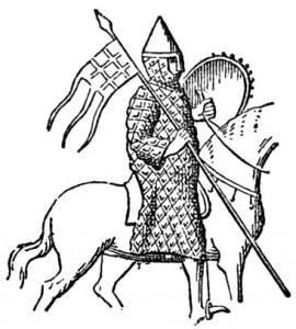 Zeichnung eines Siegelbildes von Raoul de Vermandois aus den 1120ern. Auf seinem Banner ist ein Schachmusterzeichen zu erkennen.