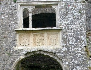 Tudor iconography over entrance to great hall at Carew Castle, Pembrokeshire in south-west Wales