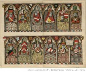 Première des quatre planches des relevés de l'église des Jacobins de Boudan pour Roger de Gaignières, Paris, BnF.