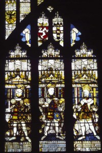King Henry IV, Henry V, and the Emperor Constantine in the stained glass of the north window in St Mary's Guildhall, Coventry. Image: Corpus Vitrearum Medii Aevi: Medieval Stained Glass in Great Britain, inv. no. 013805.