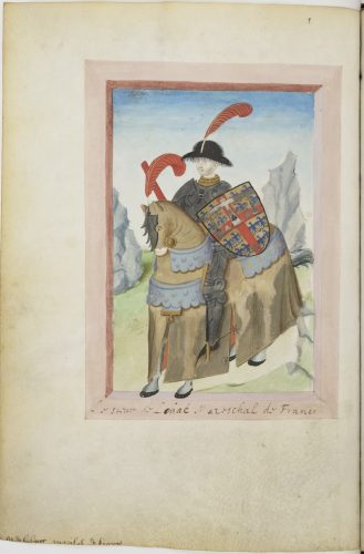 Paris, BnF, ms. fr. 4985 f.20v. Miniature of marshal de Saintrailles