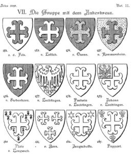 """Fig. 1 Einige Wappen der niederrheinischen """"Gruppe mit dem Ankerkreuz"""" (entnommen aus: Hauptmann, Zehn mittelrheinische Wappengruppen, Taf. 11)"""