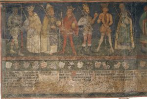 Detail of Fresco in Alter Hof. Charlemagne is on the far right. Source: https://www.historisches-lexikon-bayerns.de