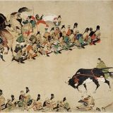 The Heiji Monogatari Emaki: a part of a picture scroll from the 13th century.  This is presumably the first source depicting mon (see oxen-cart: mon of nine stars) (via wikimedia).