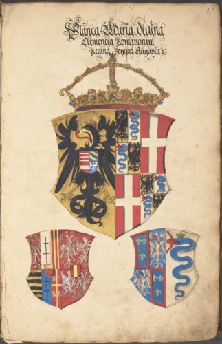 Arms of Bianca Maria Sforza (full page)